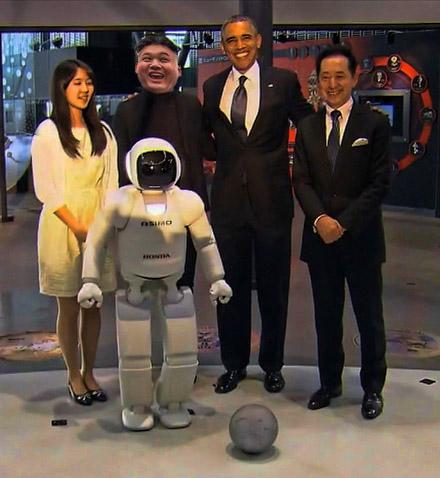 obama kim jong un posing with ss christian killer robot prototype